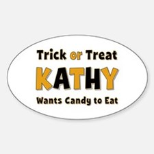 Kathy Trick or Treat Oval Decal