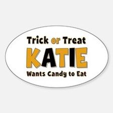 Katie Trick or Treat Oval Decal