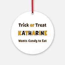 Katharine Trick or Treat Round Ornament