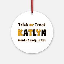 Katlyn Trick or Treat Round Ornament