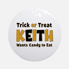 Keith Trick or Treat Round Ornament