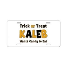 Kaleb Trick or Treat Aluminum License Plate