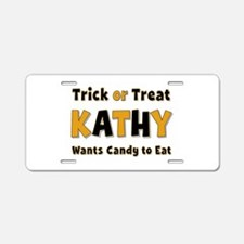 Kathy Trick or Treat Aluminum License Plate