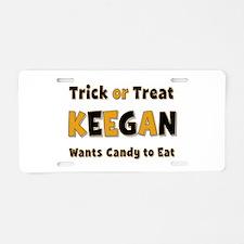 Keegan Trick or Treat Aluminum License Plate