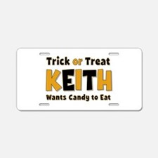 Keith Trick or Treat Aluminum License Plate
