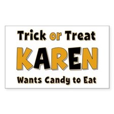 Karen Trick or Treat Rectangle Decal