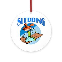 Sledding Ornament (Round)