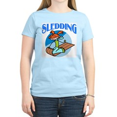 Sledding Women's Pink T-Shirt