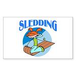 Sledding Rectangle Sticker