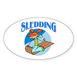 Sledding Oval Sticker