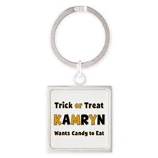 Kamryn Trick or Treat Square Keychain