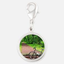 Bike Trail Silver Round Charm
