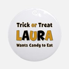 Laura Trick or Treat Round Ornament