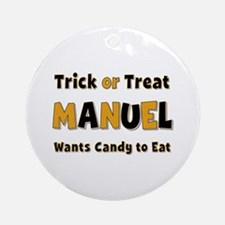 Manuel Trick or Treat Round Ornament