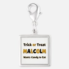Malcolm Trick or Treat Silver Square Charm