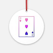 bi colored 3 of hearts Ornament (Round)