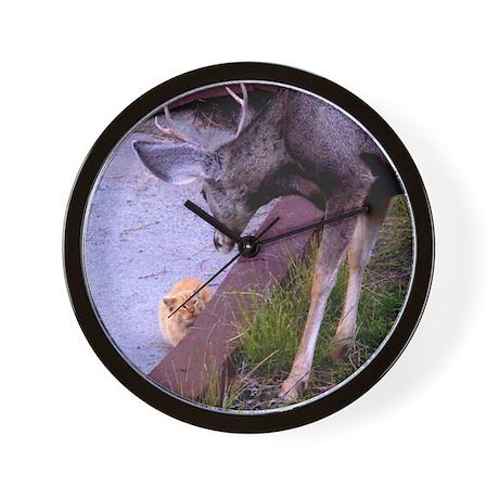 Wall Clock Cat & Deer