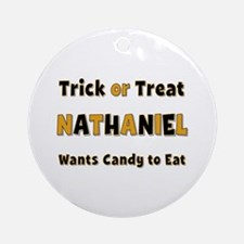 Nathaniel Trick or Treat Round Ornament
