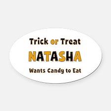 Natasha Trick or Treat Oval Car Magnet