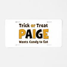 Paige Trick or Treat Aluminum License Plate