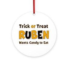Ruben Trick or Treat Round Ornament