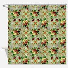 Floral Red Roses on Green Shower Curtain