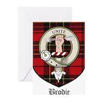 Brodie Clan Crest Tartan Greeting Cards (Pk of 20)