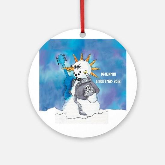Personalized Punk Rocker Snowman Ornament