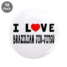 "I Love Brazilian Jiu-Jitsu 3.5"" Button (10 pack)"