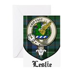 Leslie Clan Crest Tartan Greeting Cards (Pk of 10)