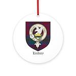 Lindsey Clan Crest Tartan Ornament (Round)