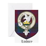 Lindsey Clan Crest Tartan Greeting Cards (Pk of 10