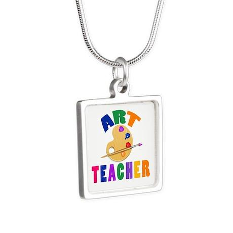 Art Teacher Silver Square Necklace