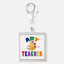 Art Teacher Silver Square Charm