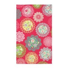 Pink floral Doily 3'x5' Area Rug