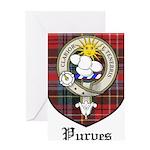 Purves Clan Crest Tartan Greeting Card