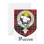 Purves Clan Crest Tartan Greeting Cards (Pk of 10)