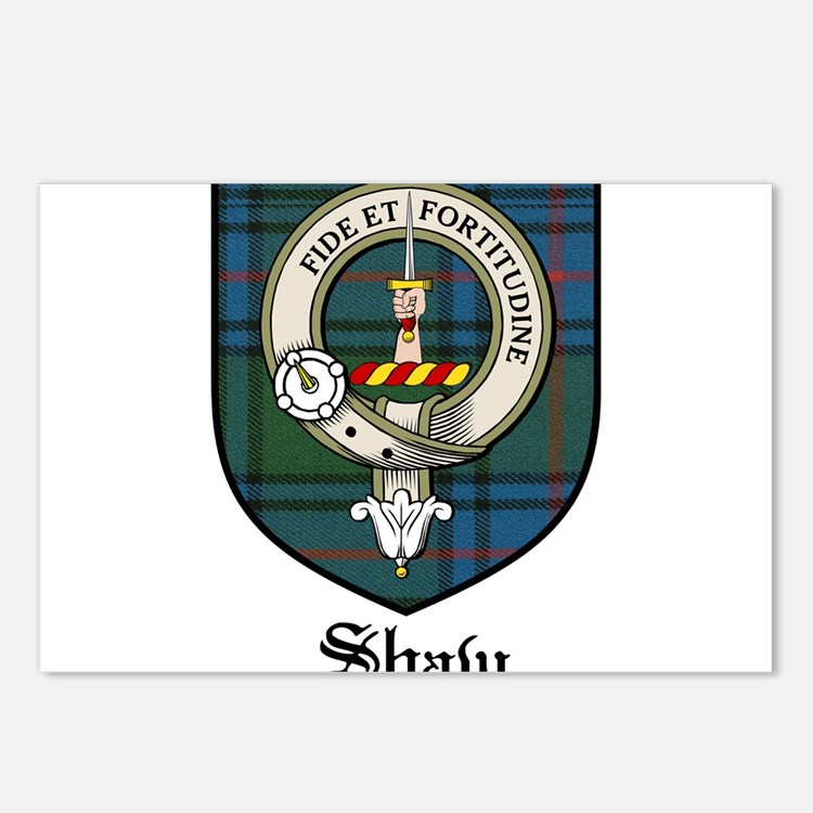 Shaw Clan Crest Tartan Postcards (Package of 8)