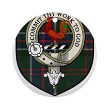 Sinclair Clan Crest Tartan Ornament (Round)