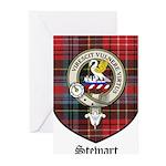 Stewart Clan Crest Tartan Greeting Cards (Pk of 20
