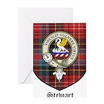 Stewart Clan Crest Tartan Greeting Card
