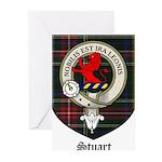 Stuart Clan Crest Tartan Greeting Cards (Pk of 10)