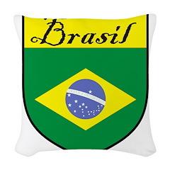 Brasil Flag Crest Shield Woven Throw Pillow