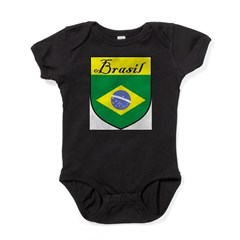 Brasil Flag Crest Shield Baby Bodysuit