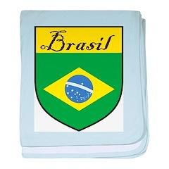 Brasil Flag Crest Shield baby blanket