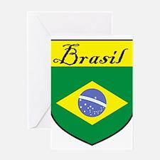 Brasil Flag Crest Shield Greeting Card