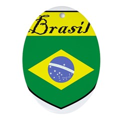 Brasil Flag Crest Shield Ornament (Oval)
