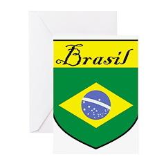 Brasil Flag Crest Shield Greeting Cards (Pk of 10)