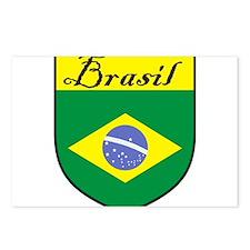 Brasil Flag Crest Shield Postcards (Package of 8)
