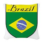 Brazil Flag Crest Shield Woven Throw Pillow